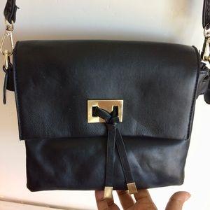 Black Leather Shoulder Bag Gold Accents